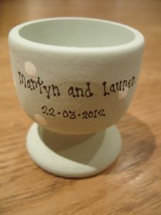 Shabby personalised Chic egg cup with any names / dates.. Wedding Favor Favours!